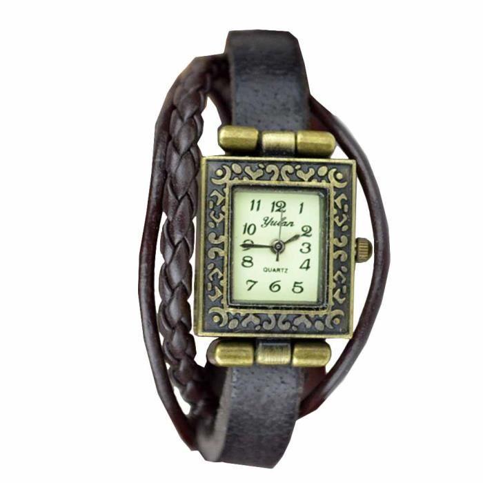 da195433997 Montre bracelet Bijou femme Cuir Coton Femme Marron Aci Rectangulaire  chiffres arabes Fermoir fantaisie