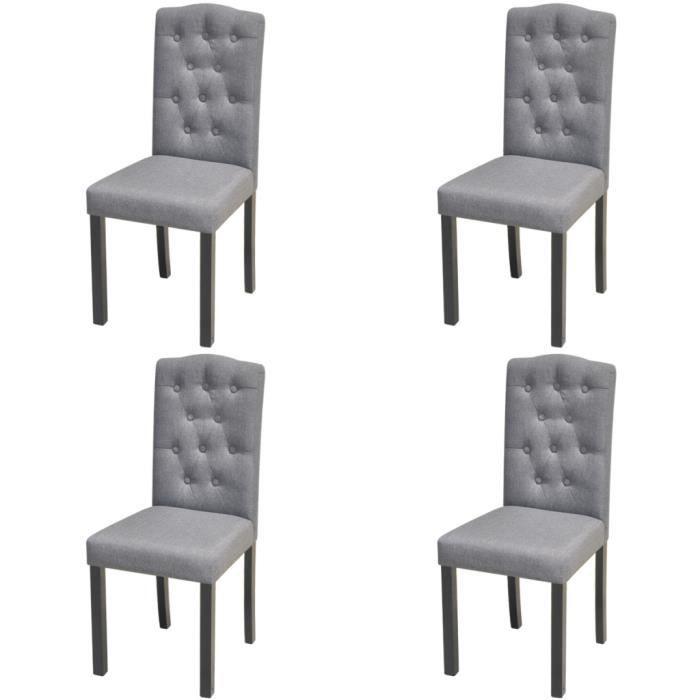 CHAISE 4pcs Chaises Moderne En Tissu Et Cadre Bois Gri