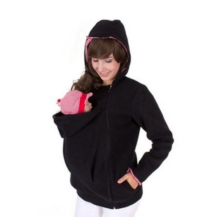 Porte bébé noir + rouge Trois-en-un mère multifonctions Kangourou Zipper  Hoodie Manteau avec Cap avant Taille  S, Poitrine  38ad02ae498