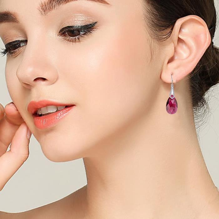 EVER FAITH® Femme 925 Argent Elégant Noces Cubique Zirconia Goutte Pendant dOreille Orné avec Swarovski Cristals Fuchsia