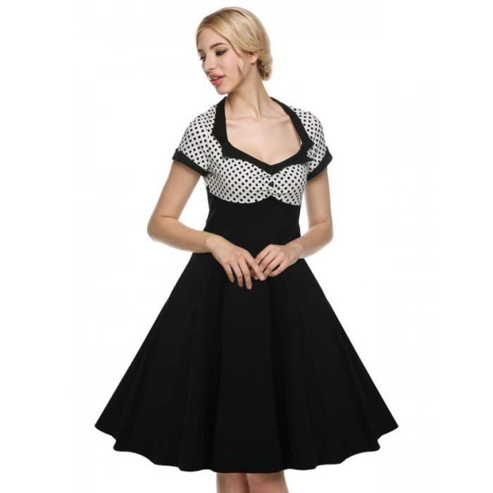 Robe femmes Finejo des années 1950 Vintage Style Dot Midi Party Dress