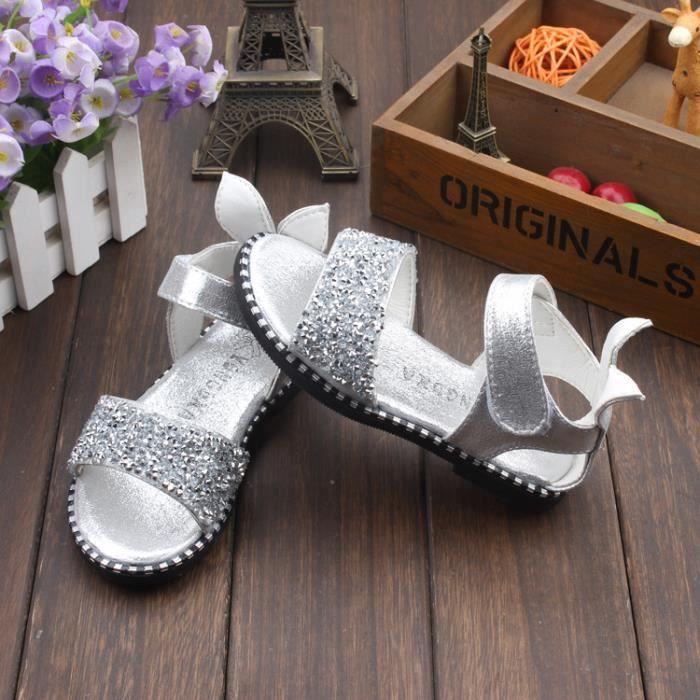Chaussures sandales filles enfants creux croûte épaisse chaussures romaine chaussures de princesse de la mode