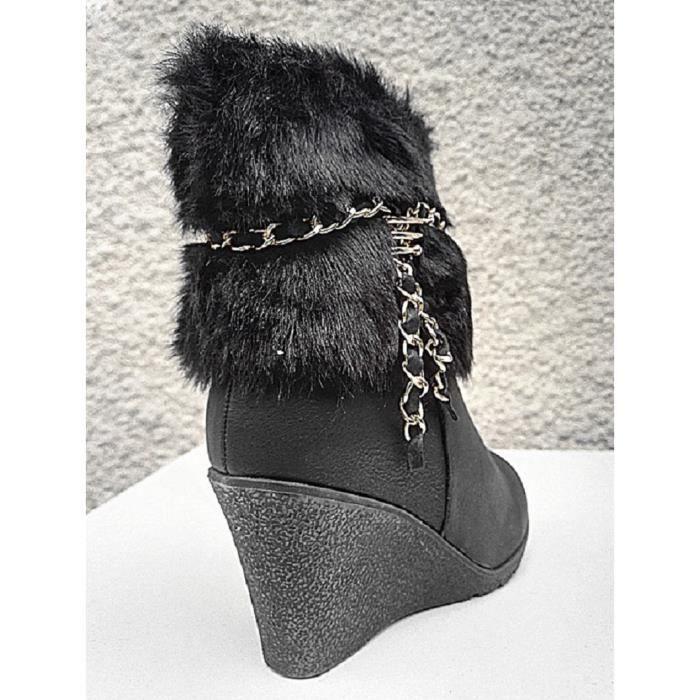 Fashionfolie888 - Femme Bottine talon compensées Fourré Fourrure BOTTE fur Cheville Court HX057 NOIR