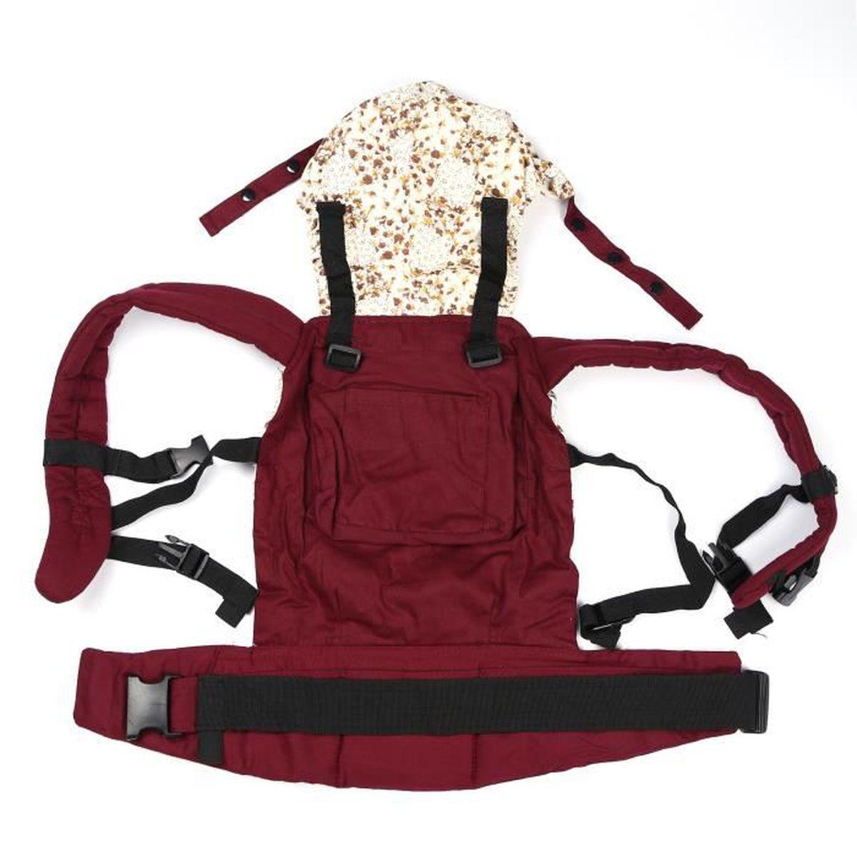 df4aeb1320e Porte Bébé Echarpe de Portage Ventral Dorsal Transporteur Sac Pour Enfant  Nouveau-né (Rouge foncé)