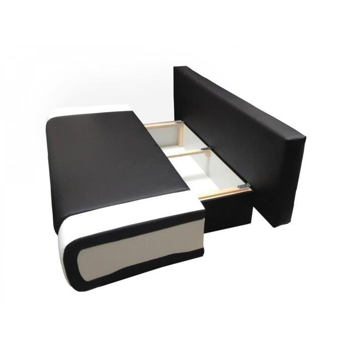Canapé Convertible Design à Places En Simili Cuir Rouge Et Blanc - Canapé convertible 2 places simili cuir