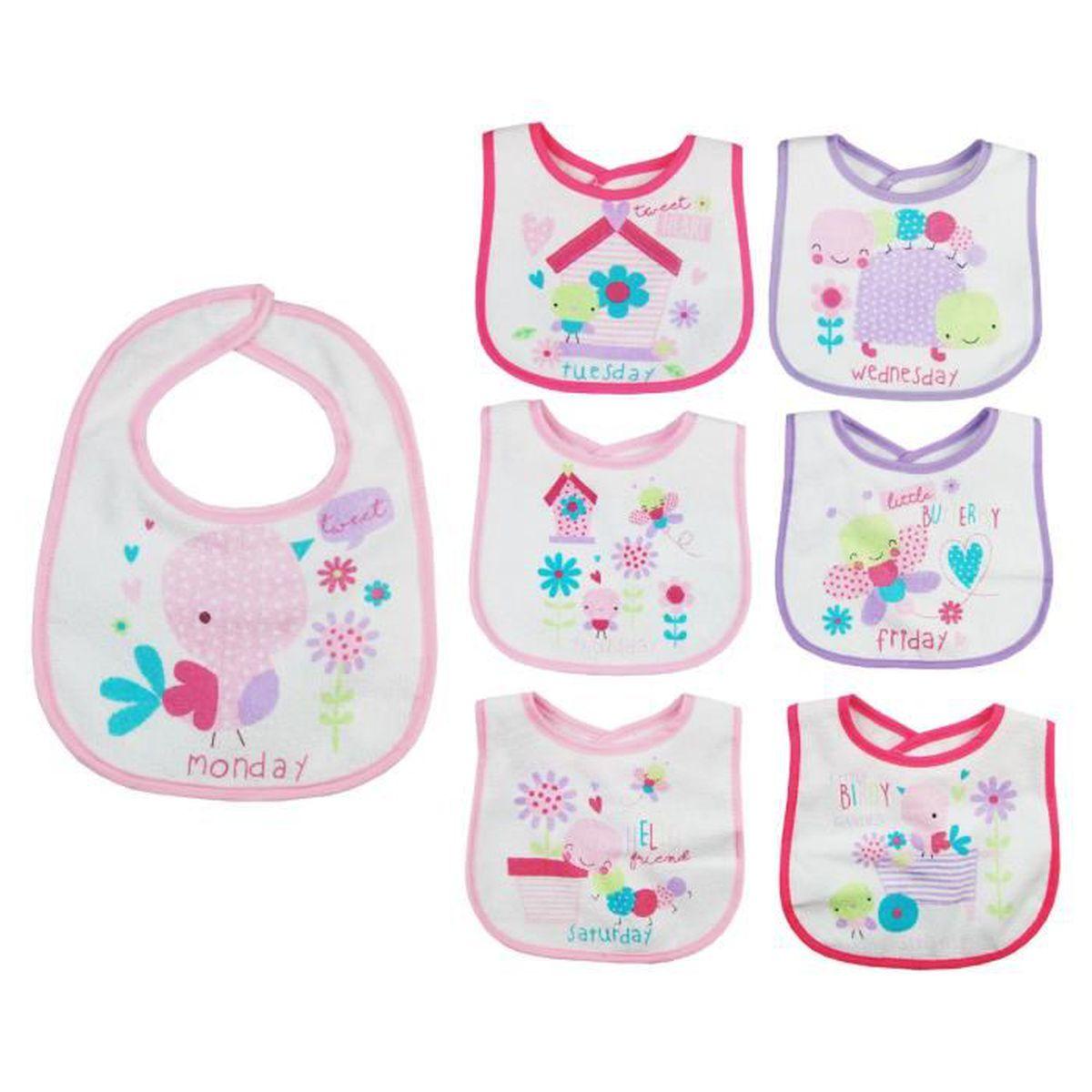 a6fc26c843853 Lot de 7 bavoirs naissance pour bébé fille thème