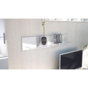 ETAGÈRE MURALE Etagère laquée blanche en bois et verre  98 cm ave