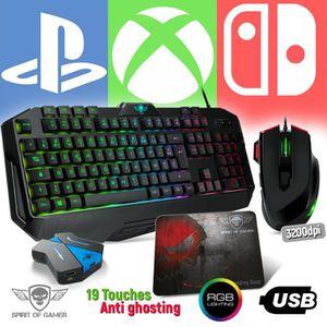 Pack Clavier Pro-K8, souris RGB et tapis PRO pour PS4, XBOX ONE, SWITCH -  Convertisseur inclus