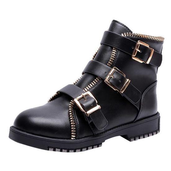 Noir Bout Bottes Femmes Bracelet Casual Martin Vintage Boucle Chaussures Cuir Rond Plat 4j3Lq5AR