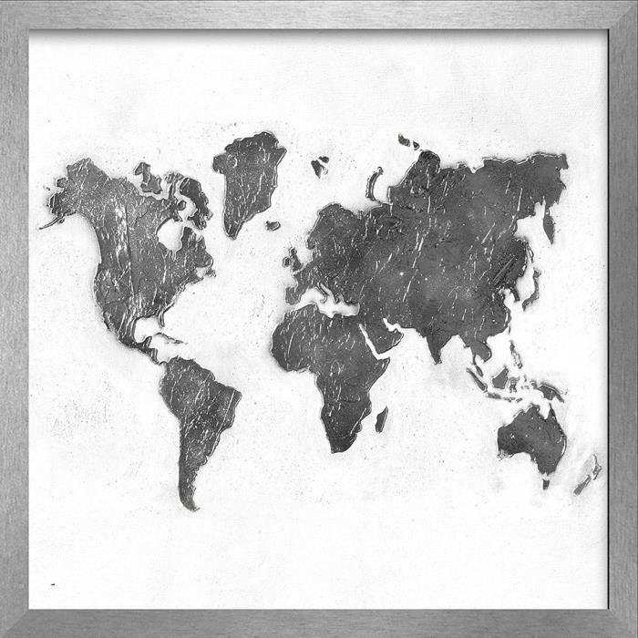 MONDE Image encadrée peint à la main 54x54 cm Mapamundi