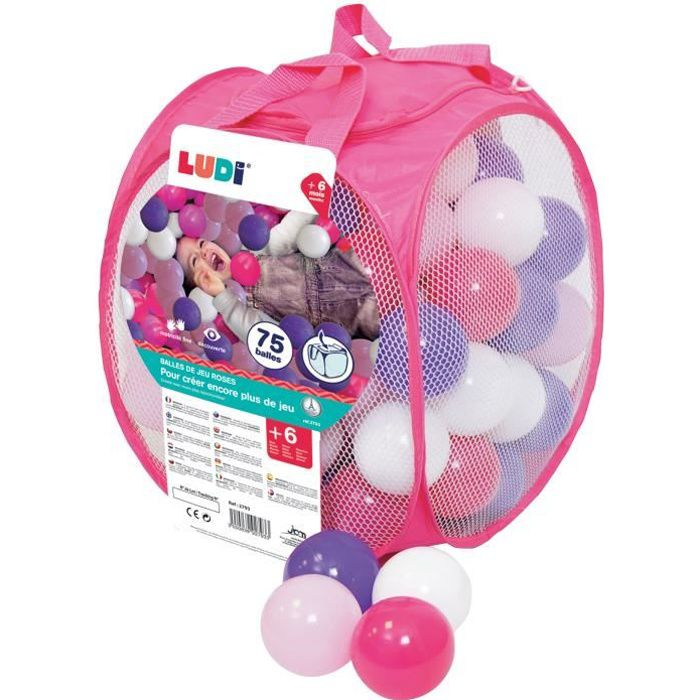 LUDI 75 balles de jeu avec sac de transport Rose
