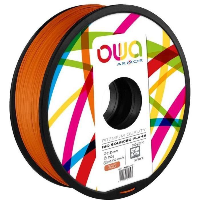 OWA Bobine de Filaments pour imprimante 3D - PLA Hi - Orange