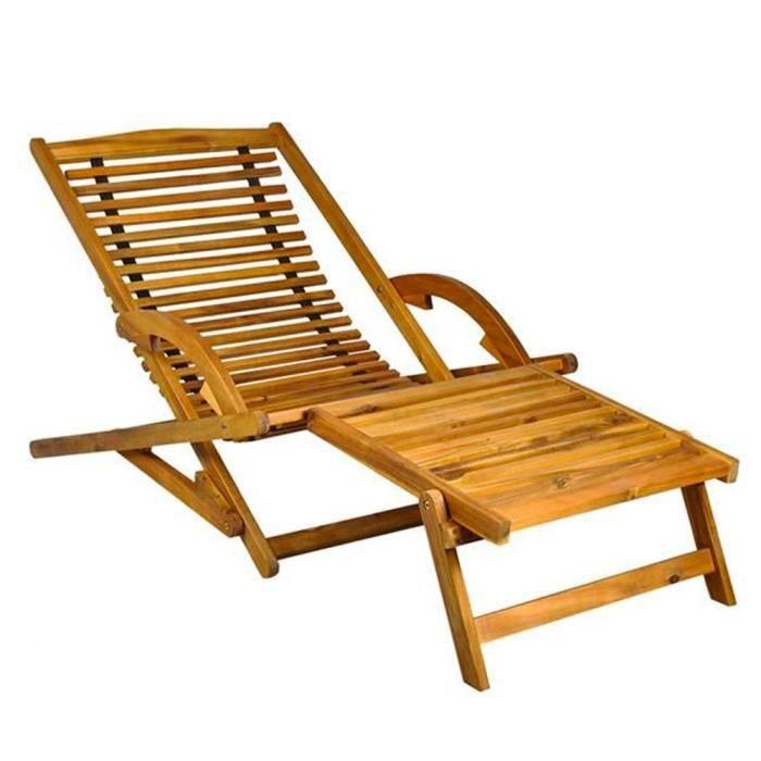 CHAISE LONGUE Transat En Bois Chaise Longue Bain De Soleil Avec