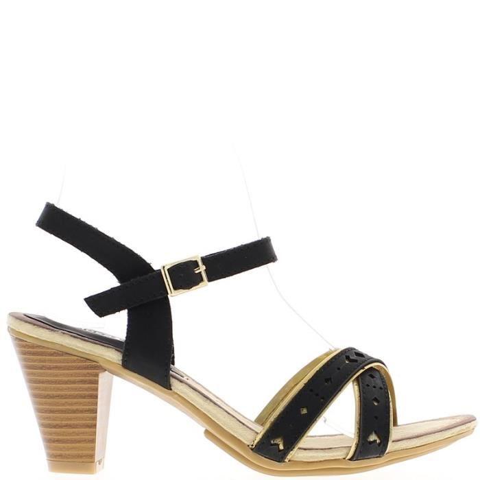 SANDALE - NU-PIEDS Sandales noires à talon de 7,5cm brides fines avec