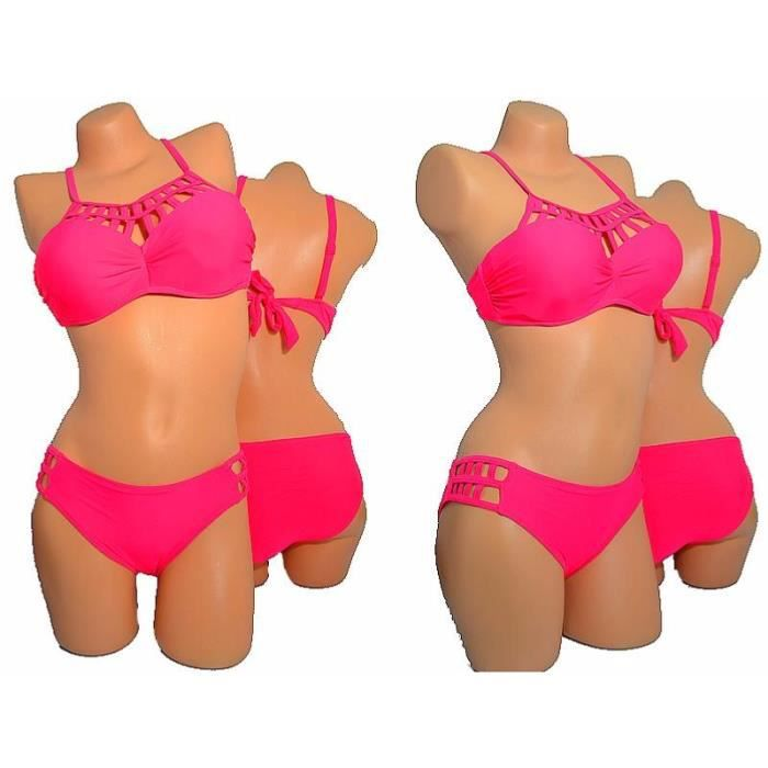 bf1e6ced6a MAILLOT DE BAIN FEMME 2 PIECES CORAIL FLUO Rose CORAIL FLUO - Achat ...