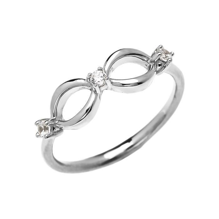 Bague Femme Trois Diamant Infinité 14 Ct Or Blanc