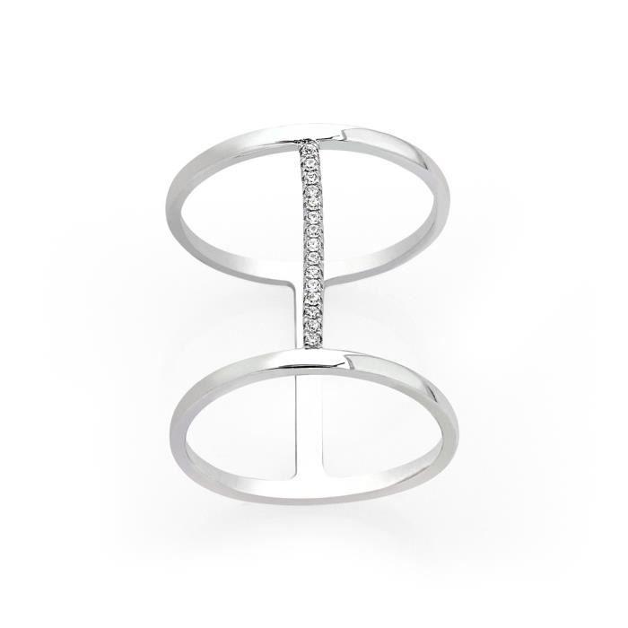 246bdb061af Bague Double anneaux Argent 925° rhodié Blanc et Oxyde de Zirconium cubique  Blanc Femme Fille Eternels bijoux by Lili