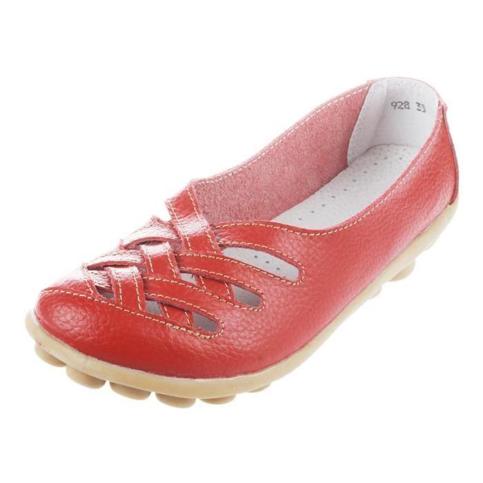 IN-TRAV INDEPENDENT TRAVEL sandale en cuir veritable pour femme sandales plate pour femme Chaussures pour ete - Rouge US9 = EUR 40