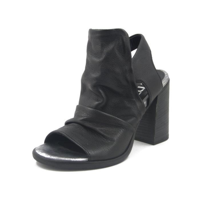 MJUS, Sandale femme en cuir noir, talon 9cm. 780001