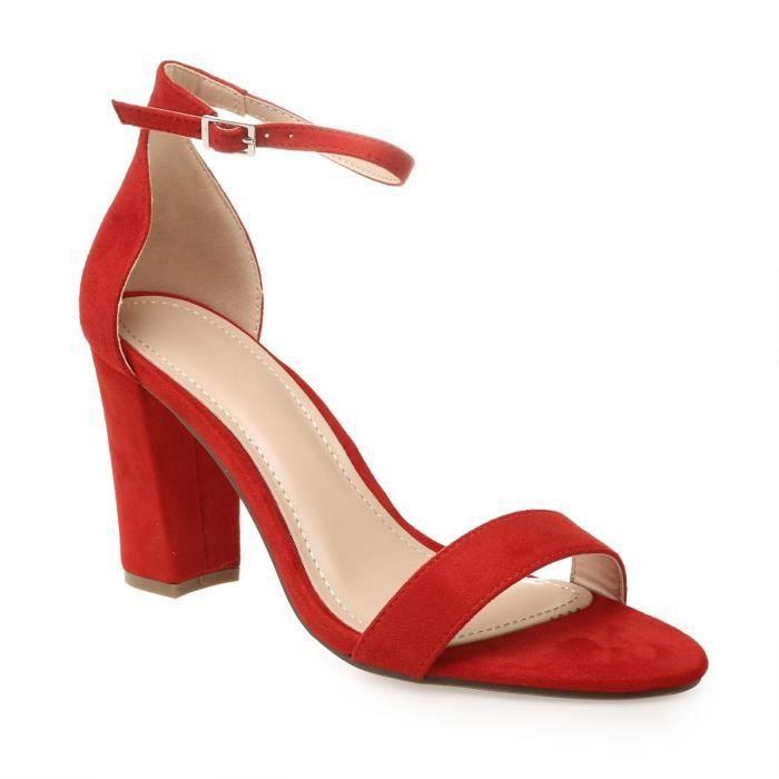 49c6d9f974f4c Sandales rouges en suédine à talon carré-36 Rouge Rouge - Achat ...