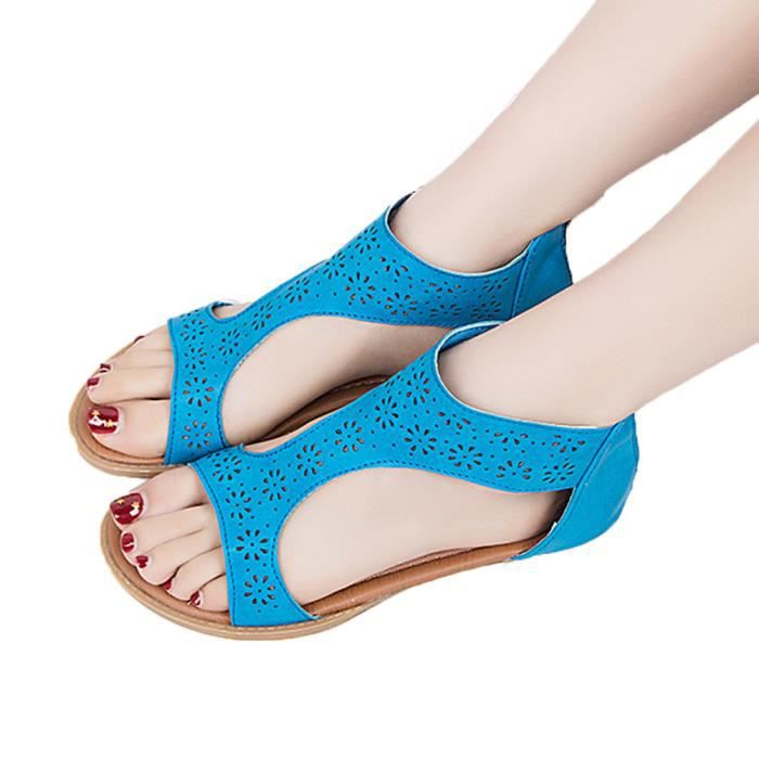 Fish Espadrilles bleu Chunky Sandales Chaussures Summer Mesdames Femmes Vacances Plates Mouth q5WnS7vT