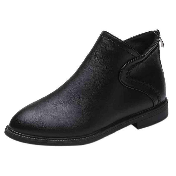 Toe Cheville Place Pointu Des De Zip Bl09080415977 Bottes Tête Carrée Chaussures Avec Simples Femmes wvHwCz