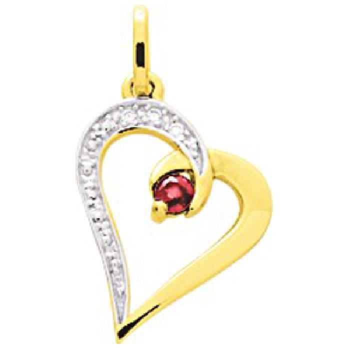 Pendentif Femme Coeur Diamants Rubis Or Jaune 750