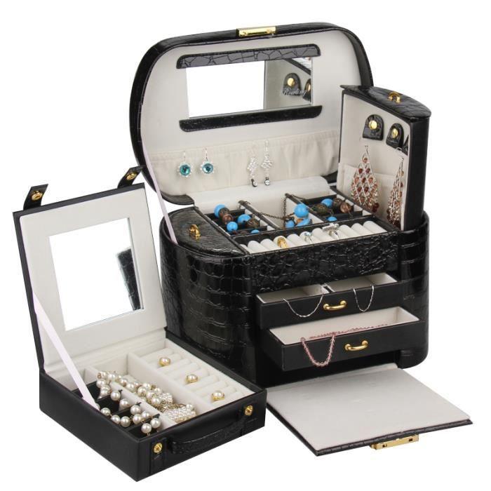 Boîte à bijoux Noir Coffret à bijoux cadeau danniversaire Boîte avecmalletteZG152BK