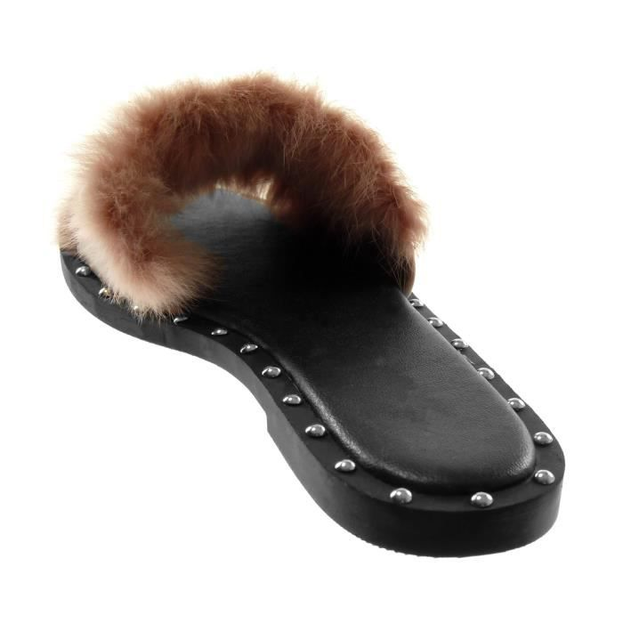 Angkorly - Chaussure Mode Sandale slip-on femme clouté perle fourrure Talon bloc 1.5 CM - Rose - JN1797 T 40