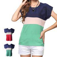 T-SHIRT Femmes Hauts Contraste Couleur Stripe T-shirt à ma
