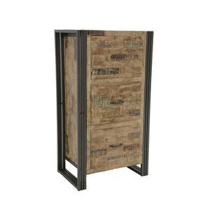 TABLE D'APPOINT Industriel - Meuble de rangement 110cm 3 tiroirs W