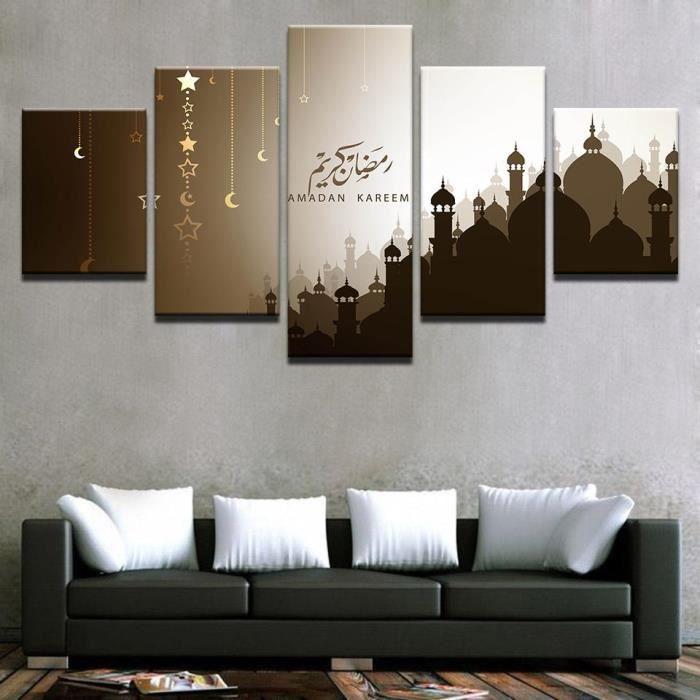 lingzhishop,56593-(Unframed)Salon Imprimé Peinture 5 Panneau Ramadan Kareem  Lune Étoiles Arabe Moderne Décoration Murale Affiches