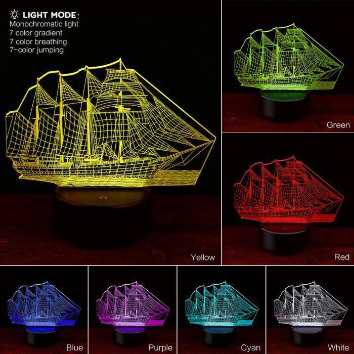 Smart331 Créatif Table Design Light Décoratif Bateau De 3d Night Lampe À Voile Chevet NOyvm8n0w