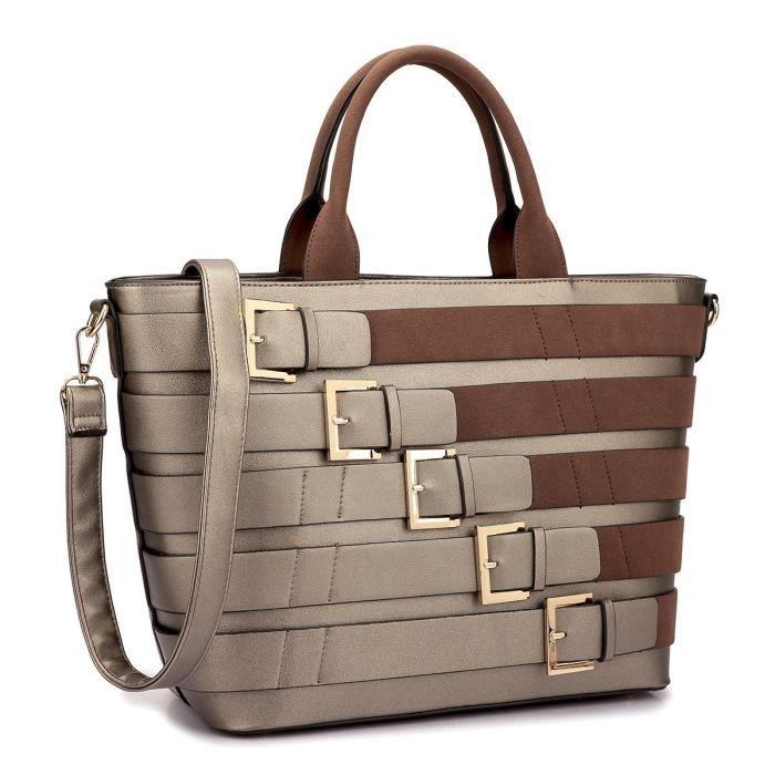 Grand sac fourre-tout en cuir Designer Sac à main épaule boucle Détails sangle amovible OLEKR