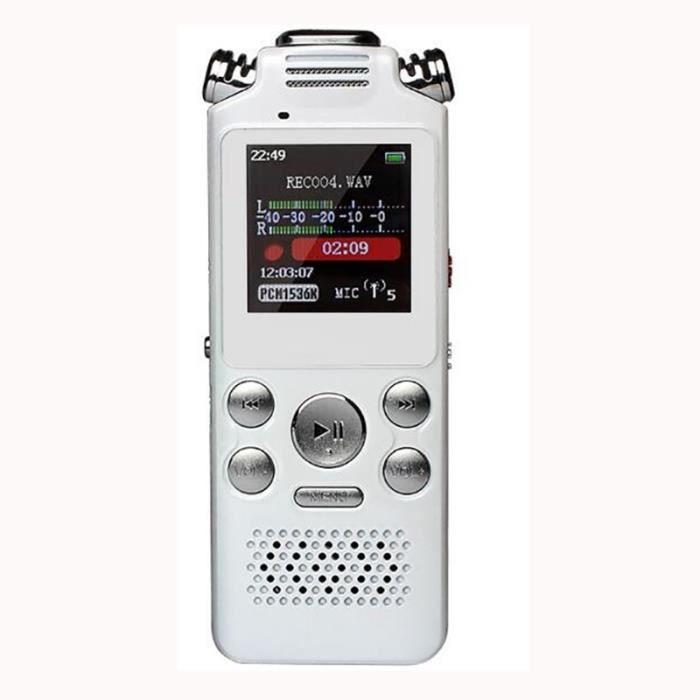 Enregistreur Vocal Numérique 16g Audio Lecteur Mp3 Port Blanc