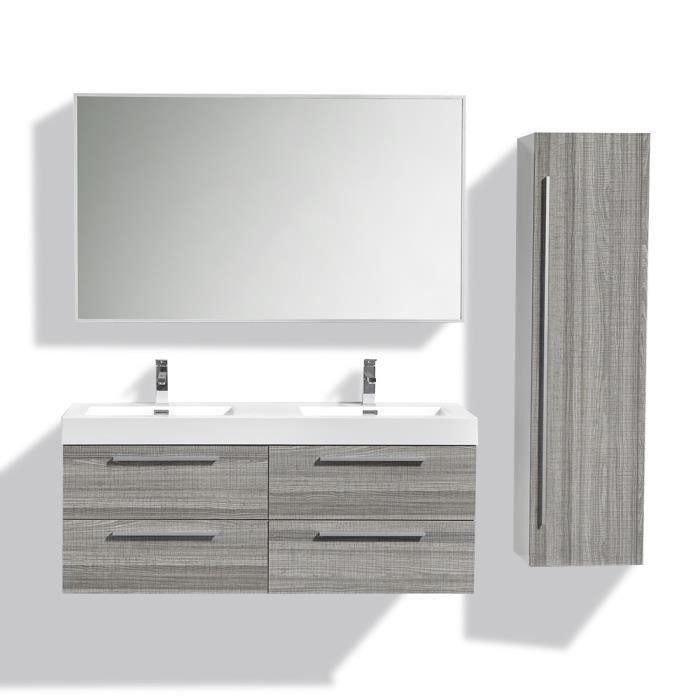 vasque avec colonne Ensemble de salle de bain double vasque avec colonne de rangement u2013 Gris  chiné
