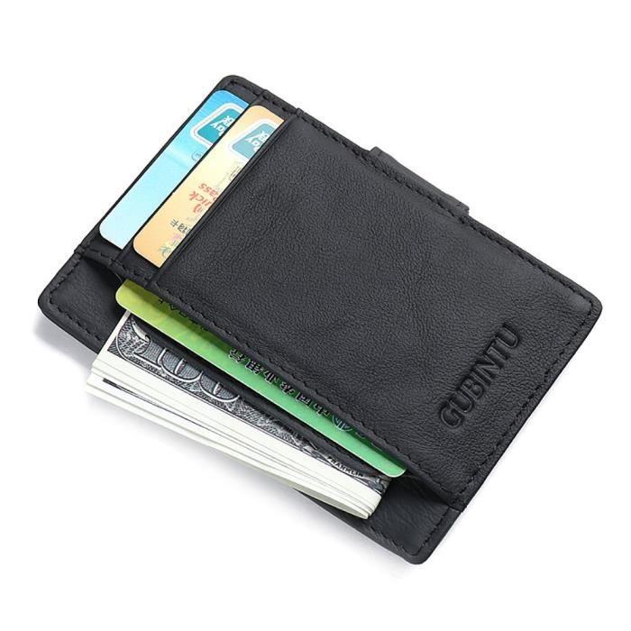 Noir RFID blocage porte-carte en cuir pour