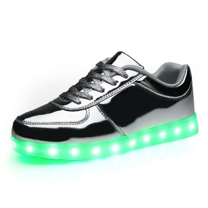 Mode enfants ChaussuresGarçon Fille 7 Couleu Enfants USB Charge LED Lumière Lumineux Clignotants Chaussures de Sports Baskets 4KyRVwNMUW