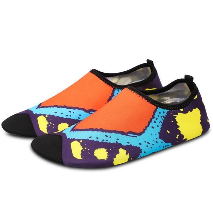 Unisexe Chaussures de bain Chaussons pour Sport Aquatique Homme Femme Quick-Dry Pour Natation Beach Yoga Piscine - Bleu AG3arrT