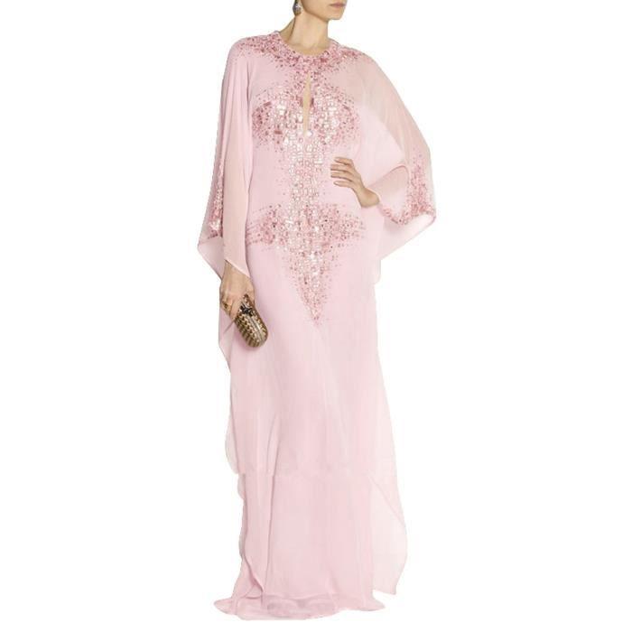 b6ee28c2b2d Rose pâle Caftan Femme Tunique Turkish Robe Longue de Soirée Cocktail  Manche Longue à Volant Sexy Ajouré Strass Perlé Grande Taille