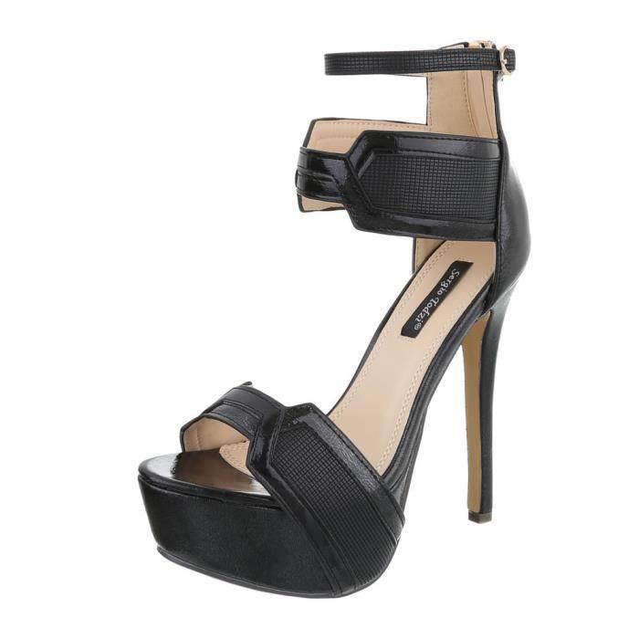 5814f301a54 Chaussures femme sandale à talons hauts Plateau High Heels noir 41 ...
