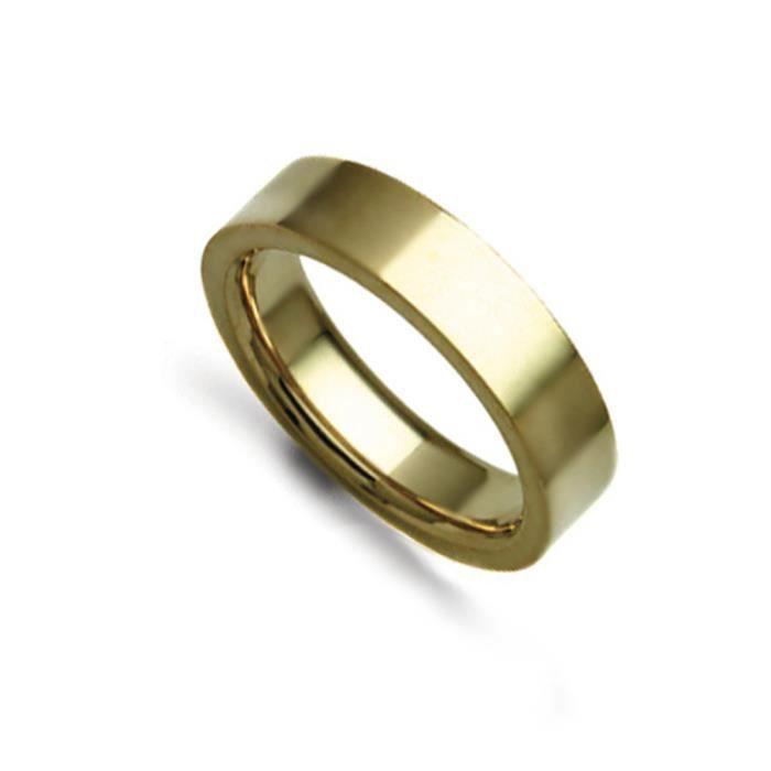 Jewelco Londres 18K à la main en or jaune bague de mariage cour plat 5mm
