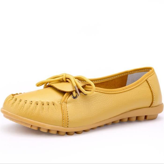 Mocassin Femmes Ultra Leger Antidérapant Chaussures ZX-XZ041Jaune40
