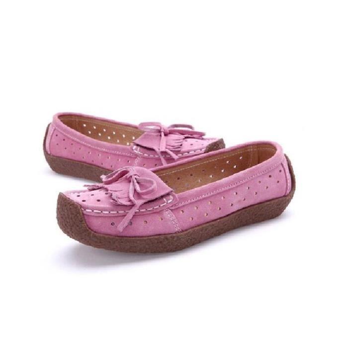 Moccasin Femme Série printemps et automne Simple Moccasins Antidérapant Haut qualité Rétro Loisirs Chaussure Gland Taille 34-42