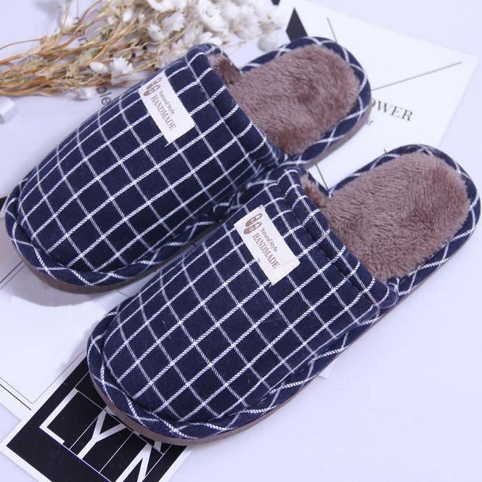 Pantoufles chaudes d'intérieur de rayure d'hiver de femmes chaussures souples anti-dérapantes à la maison RDMarine XKO448