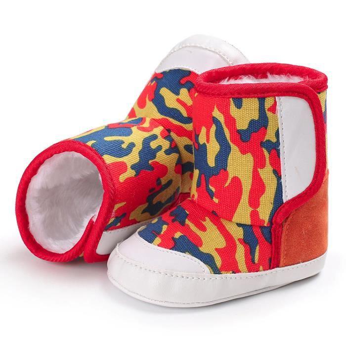BOTTE Camouflage bébé doux semelle de neige bottes chaussures de crèche souples bottes pour tout-petits@Rouge