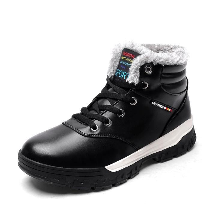 Bottes de neige imperméables à l'eau chaude Chaussures en cuir avec doublure en fourrure LLFAZ Taille-46