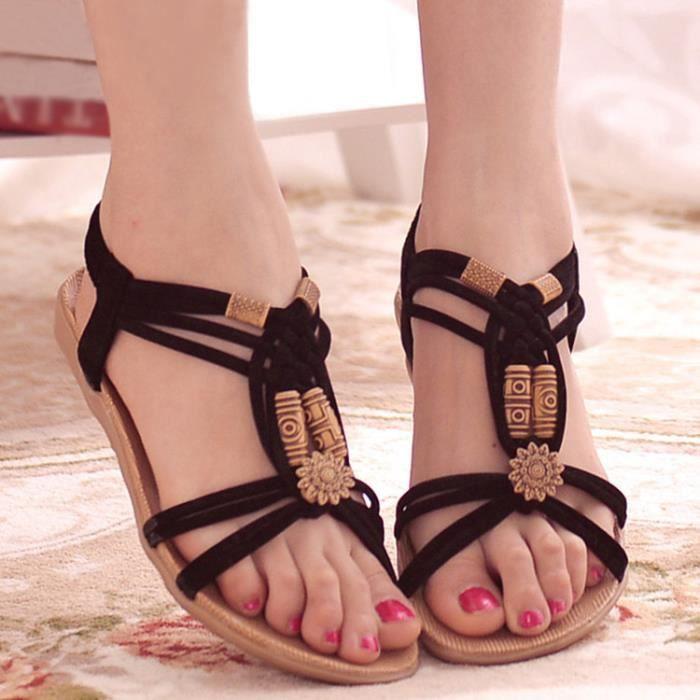 Femme Sandales Chaussures Elastique Talon Plat Plage Eté Lanière