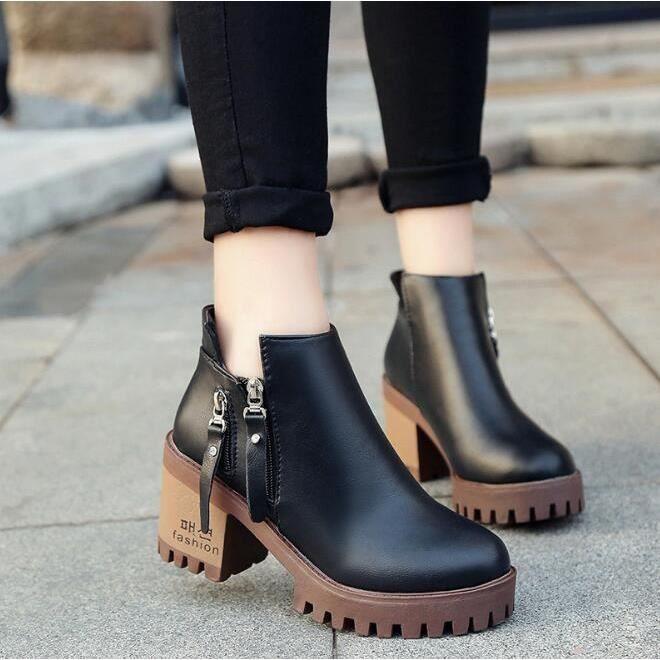 Vintage Femmes Mode Chunky bas talon Martin Short Boot cheville bottillons Automne Hiver Chaussures Femme,marron,35