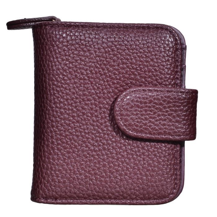 Femmes Wallet Card Holder Organizer petit Pu cuir Zipper Porte-monnaie dembrayage B5S92